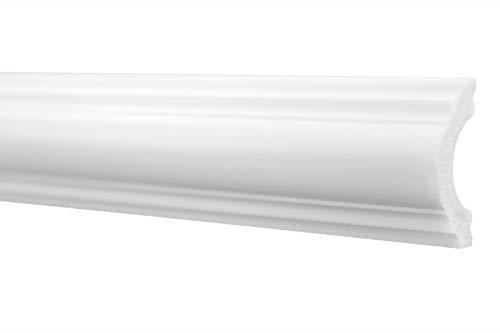 2 Meter | Flachleiste | hartes Styropor | Decke | stabil | weiß | Stuckprofil | Zierleiste | leicht | dekorativ | HXPS | 20x40mm | HW-2