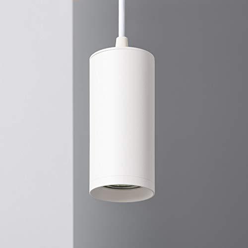 LEDKIA LIGHTING Lámpara Colgante Cuarzo Ø60x130 mm Blanco GU10 Aluminio Decoración Salón, Habitación, Dormitorio