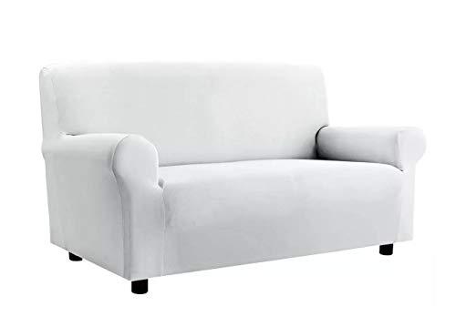 BIANCHERIAWEB Copridivano Elasticizzato Antimacchia Modello Zeno Colore Bianco 2 Posti Bianco