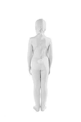 Full Bodysuit Kids Open Face Costume Spandex Stretch Zentai Child Suit (Medium, White)