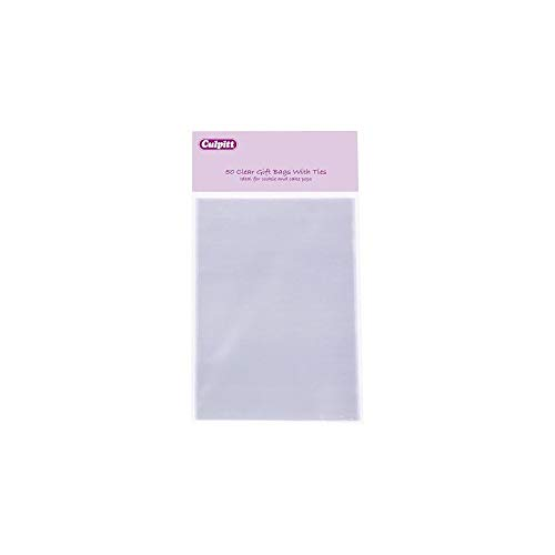 Large Clear Gift Bags with Ties - 50 Pack