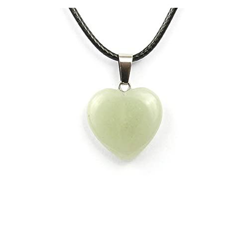 JIANGFBH Cristal Natural Rugoso Piedra Natural Colgante Forma de corazón Cristal agatenecklace Colgantes Colgantes 20 * 6 mmm (Metal Color : 17)