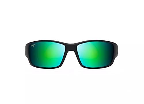 Maui Jim Men's Local Kine Wrap Sunglasses, Black/Tran Green/Lt Trans Grey/Green Mirror Polarized, Large