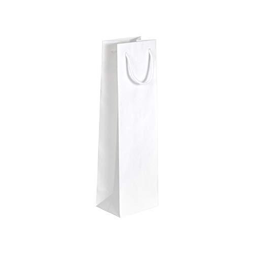 Lacers Flaschentragetasche Typ C Blanco für 1 Flasche, weiß Geripptes Papier, mit weißer Baumwollkordel, 120 + 90 x 400 mm 120g/qm, 100 Stück