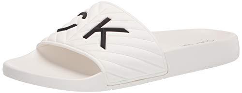 Calvin Klein Women's kcANDERS Slide Sandal, White185, 8