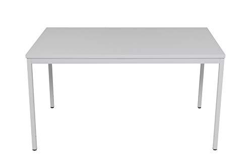 furni24 Rechteckiger Universaltisch mit laminierter Platte, Metallgestell und verstellbaren Füßen, ideal im Homeoffice als Schreibtisch, Konferenztisch, Computertisch, Esstisch - Grau 140x80x75 cm