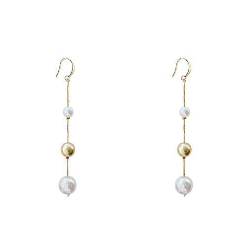Nobranded Pearl Gold Hoop Drop Dangle Earrings for Women Long Snake Chain Delicate Bridal Earrings for Wedding