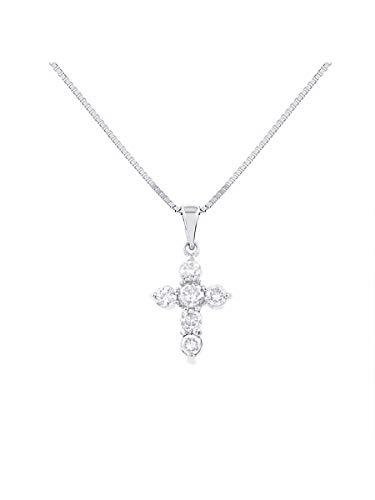 Diamante Cruz Colgante 14K oro blanco 1/2CT diamantes Total Peso