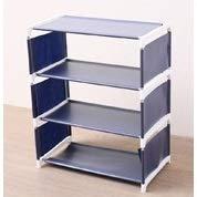 QFDM DIY Stand Zapatero Multi-Capa Sencilla hogar a Prueba de Polvo economía Montaje Tela Dormitorio Estante pequeño Zapato Multi-Funcional Estante de baño (Color : Navy Blue Four)