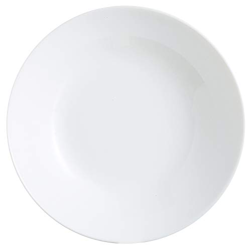 Arcopal Set platos hondo, Vajilla vidrio opal extra resistente, 20cm, Blanco, 12 piezas