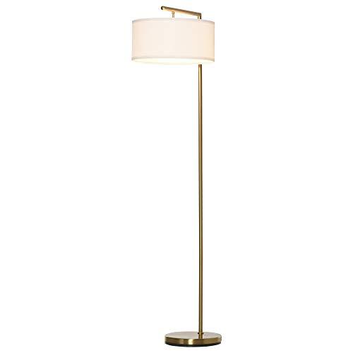 homcom Lampada da Terra Moderna in Metallo e Paralume in Tessuto, Lampada da Lettura E27 47x37x153cm, Oro e Bianco