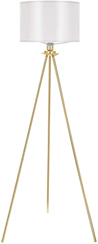 Deckey Stehlampe Modern Stehleuchte Gold Tripod mit Weiß Lampenschirm, E27 Fassung, 156 cm Höhe
