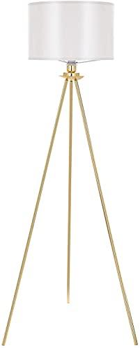 Deckey Stehlampe, LED Stehleuchte Moderne mit Golden Dreibeinstativ aus Metall, Standleuchte für Wohnzimmer und Schlafzimmer, Leseleuchte Bodenlampe, Weiß