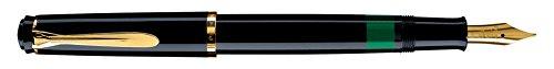 Pelikan 983056 Kolbenfüllhalter Classic M 200 vergoldete Edelstahlfeder Federbreite F, 1 Stück, schwarz