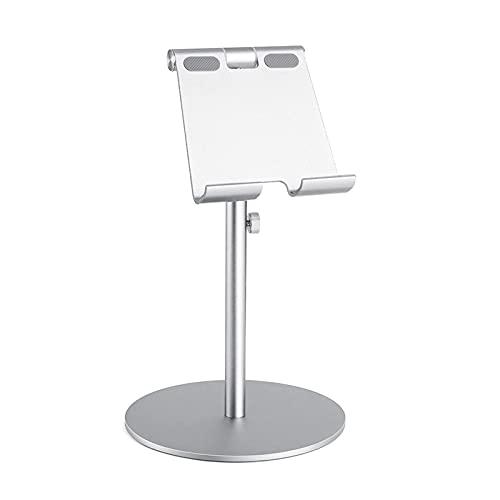 Tablero de Aluminio de rotación de 360 ° de Gran tamaño 360 °, Tableta de Aluminio Ajustable en Altura, Tableta de Escritorio para iPad Tab Kindle Nintendo Switch (4-13') (Color : Silver)