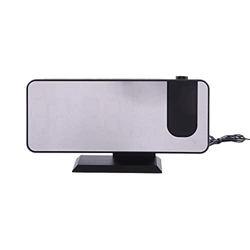 OVBBESS Proyector Despertador para Dormitorio, Proyector, Reloj de Techo con LCD Digital, Temperatura, Humedad, Pantalla, Atenuador, Proyector