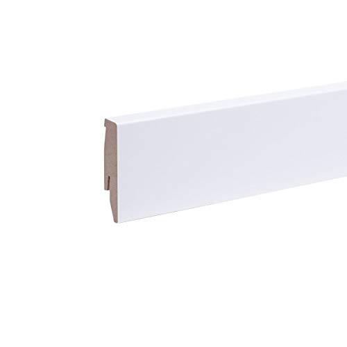 Dekor-Sockelleiste 60mm Weiß I Fußleiste 60 Höhe I stabiles MDF mit Dekor in weiß I Länge 2.600 mm I Bodenleiste mit integriertem Kabelkanal + Clipfräsung