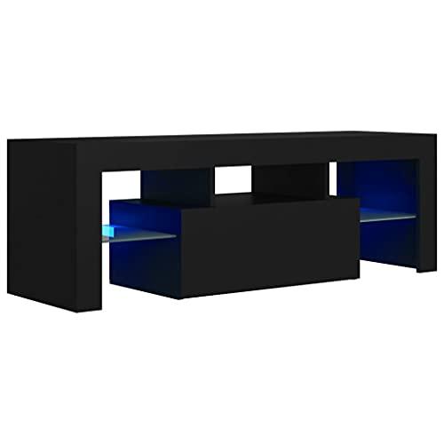 vidaXL TV Schrank mit LED-Leuchten Lowboard Fernsehschrank Fernsehtisch Sideboard HiFi-Schrank TV Möbel Tisch Board Schwarz 120x35x40cm