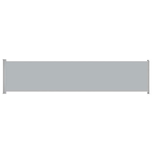 Tidyard Toldo Lateral Exterior - contra Viento, Sol y visión 3# Toldo Lateral retráctil para Patio Gris 140x600 cm