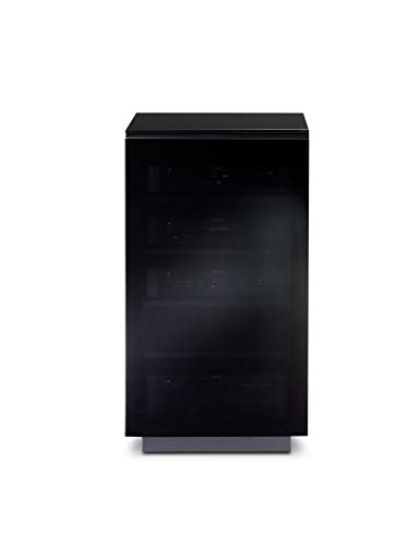 BDI Mirage 8222, Enclosed A/V Tower ( Satin Black with Black Glass Top)