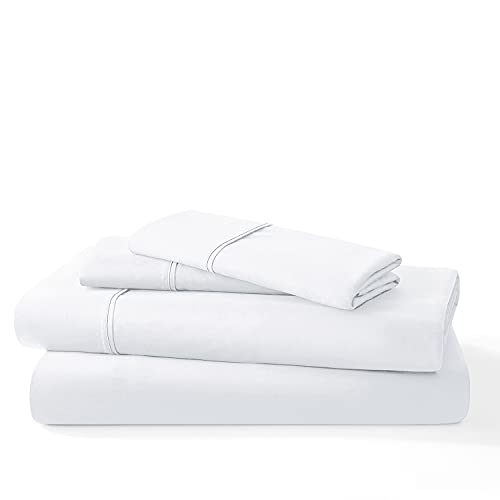 Mellanni Organic 100% Cotton Sheets - 400 Thread Count Long Staple Queen Bed Sheets Set - Cotton Cooling Sheets - 4 Piece White Cotton Sheets Queen Size - Fits Queen Mattress up to 16' (Queen, White)