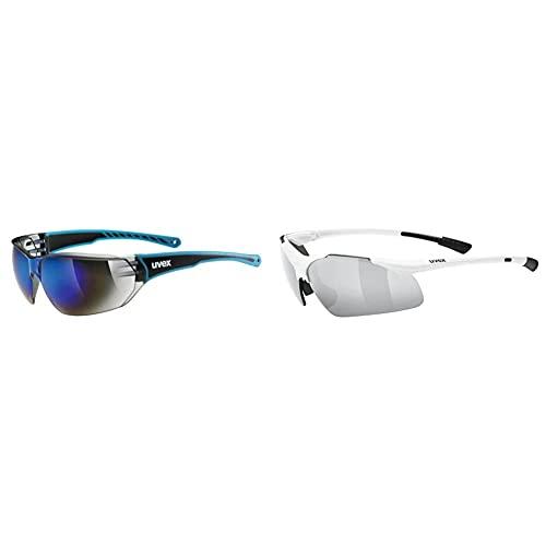 Uvex Unisex– Erwachsene, sportstyle 204 Sportbrille, blue/blue, one size & Unisex– Erwachsene, sportstyle 223 Sportbrille, white/silver, one size