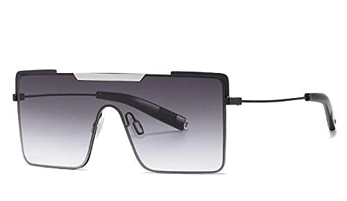 U/N Gafas de Sol cuadradas de Gran tamaño para Mujer, Tonos degradados sin Montura, Gafas de Sol Transparentes de Metal, Gafas de Sol de Lujo para Mujer-6