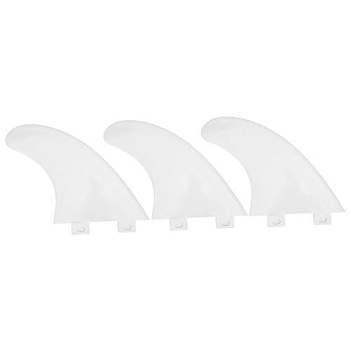 Keenso Surf Boards Fin, 3Pcs/Set 2 Couleurs FCS Single Heads Surfboard Fins Accessoire de Planche de Surf(Blanc)