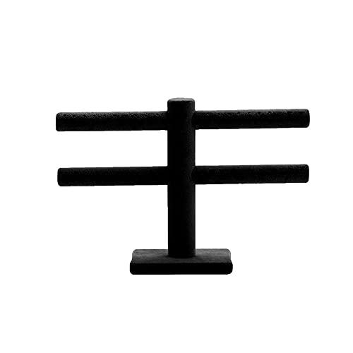 LITINGT Schmuckst?nder T-Bar Samt Schmuck St?nder Halter Display Ring Ring Ohrringe Gestüt Schmuck Organizer Rack Schmuckaufbewahrun (Color : Black)