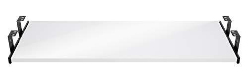 FIX&EASY Support coulissant porte clavier avec tablette tiroir 800X300mm blanc brillant décor, rails noir 300mm, ensemble roulement à billes et plateau pour bureau et table