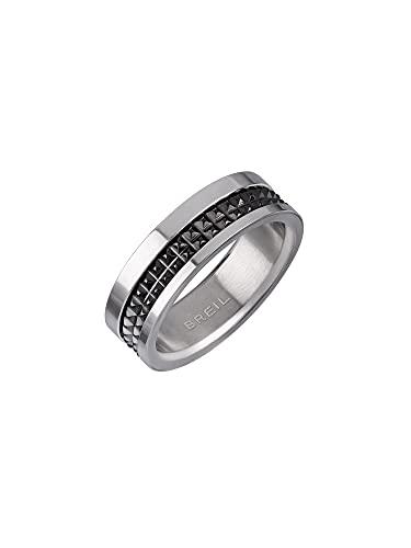 BREIL - Men's Ring Joint Collection TJ3052 - Gioielleria Uomo - Anello in Acciaio per Uomo con Borchie in Acciaio Nero Satinato