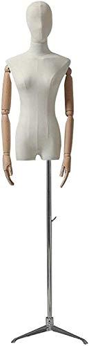 JinSui Mujer Maniqui Regulable Costura Maniqui Maniquí Femenino Cuerpo Torso Forma de Vestido con Cabeza de Tela sastres maniquí pinnable 130-182cm Maniquí