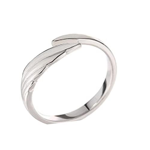 Crazyfly Anillo abierto, alianzas de plata de ley anillo ajustable de ángel demonio pareja anillo simple joyería elegante para mujeres hombres cumpleaños aniversario regalo de San Valentín