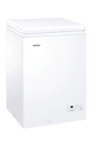 Haier HCE103F - Arcon congelador, 100 litros, Función super congelación, Cesto metálico, Display digital, Interior aluminio, Clase F