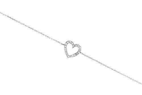 Corazón con diamantes blancos, Pulsera de oro de 9K 14K 18K, Oro blanco, Corazón de oro delicado,...