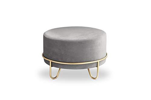 LIFA LIVING Runder Samt Pouf für den Innenbereich, Vielseitiger Samt Hocker mit Goldener Metallbasis, Sitzhocker Couchtisch Beistelltisch, bis zu 100 kg Traglast, 35 x Ø 55 cm (Grau)