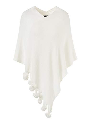 Ferand Eleganter Damen-Pullover, Cape, Poncho, Strick, mit Fransen und Bommeln Gr. One size, weiß