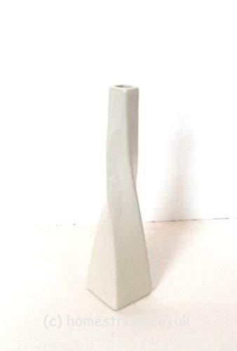 Vase torsade blanc en céramique Dimensions environ 25 cm – Idéal pour fleurs, idée cadeau