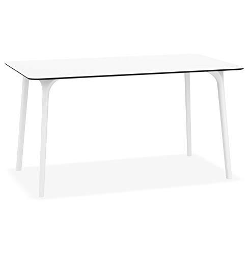 Alterego Table de Jardin Design 'Lagoon' Blanche intérieur/extérieur - 140x80 cm
