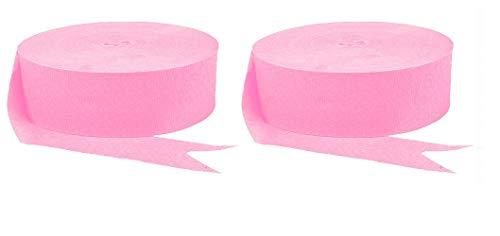Crepe Streamer 2 Pack Bulk Bundle Saver (Pink, 1000 Feet)