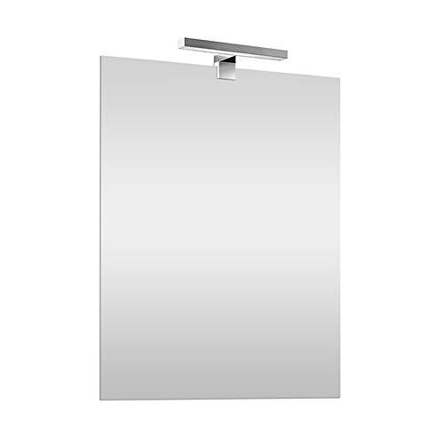 Specchio con Lampada LED 50x70 cm REVERSIBILE, specchiera a filo lucido, Lampada cromo 30 cm a risparmio energetico