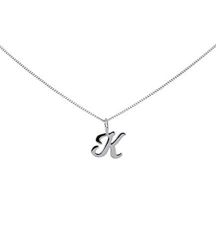 TOSH 925er Silberkette mit Schreibschrift-Buchstabenanhänger - K - (451-379)