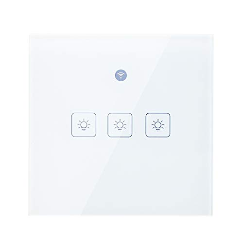 Ewelink Radar Sensor de Movimiento WiFi Interruptor de Pared Inteligente Compatible con IFTTT/Alexa/Google Home/Apple Siri Control de Voz App/Touch Control Timer Interruptor de inducción de 3