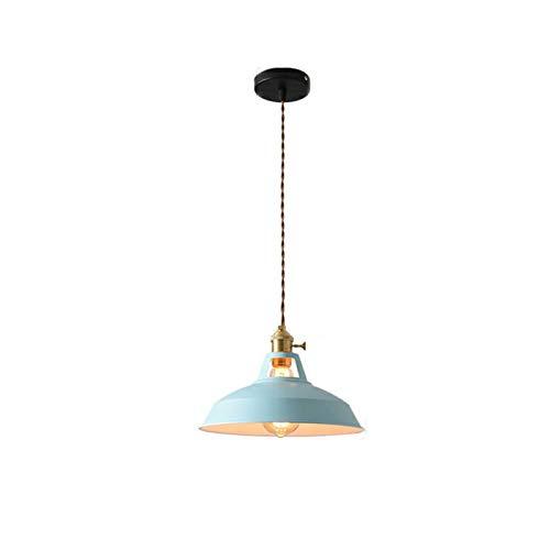 Retro Estilo Industrial Colorido Restaurante Cocina Lámpara de hogar Colgante Luz Vintage Colgante Luz Lámpara Lámparas Decorativas (Color : Azul, Talla : Without Bulb)