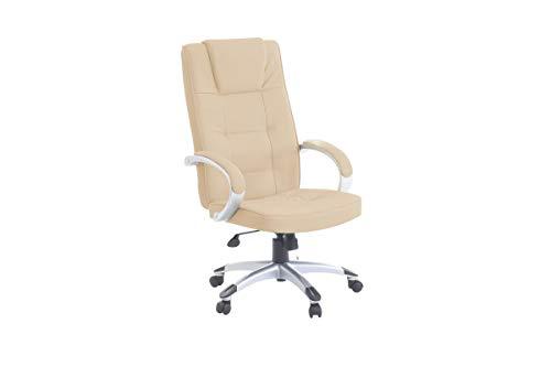 "Leder Chefsessel Massagesessel\""San Diego\"" Sessel mit Massage Farbe beige/cremefarben/elfenbein + Silber für Büro Ledersessel Bürostuhl Drehstuhl günstig"