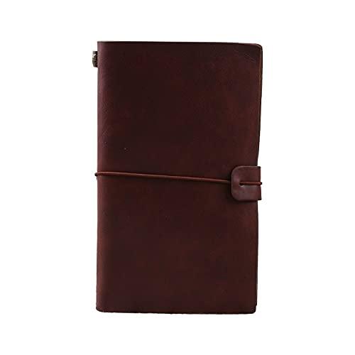 Cuaderno Diario Composición Notebook Diario Viajes elegante Hecho a mano Diario Cuaderno grabado Diario de cuero Mensaje Cuaderno Handwriting PocketBook Papelería Diario de Cuero ( Color : Brown )