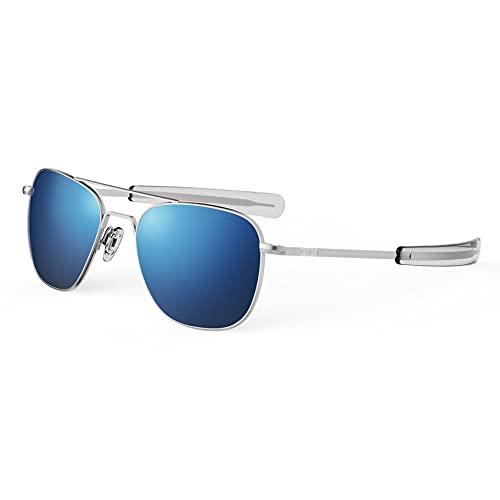 Randolph USA | Matte Chrome Classic Aviator Sunglasses for Men or Women Non-Polarized 100% UV