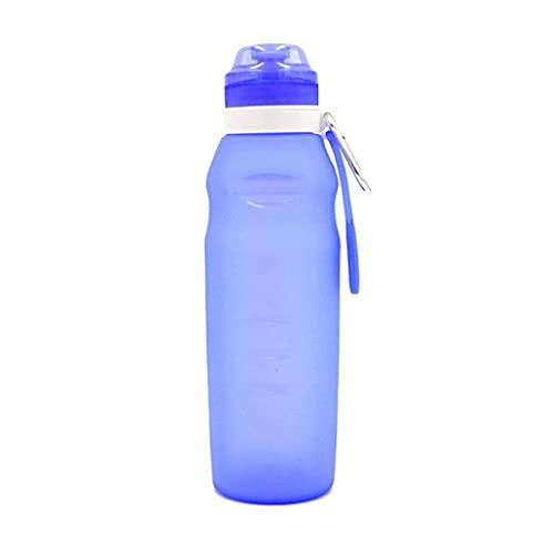 WFS Hidratación Botella De Agua Plegable Botella De Agua Plegable Botella De Agua Grande para El Recorrido Senderismo Ciclismo Deportes Camping Botella (Color : Blue)