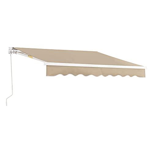 [en.casa] Toldo Articulado con Armazón 300 x 250 cm con Brazo Extraíble Toldo Enrollable Toldo Retráctil Manual Terraza Balcón Protector de Sol Parasol Manivela Beige