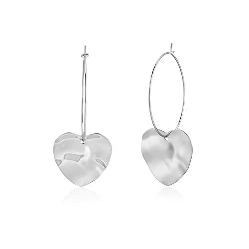 100% 925 anillo de corazón grande de oro y plata para piercing colgante amor mujer moda delgado gran joyería de boda-aro de plata